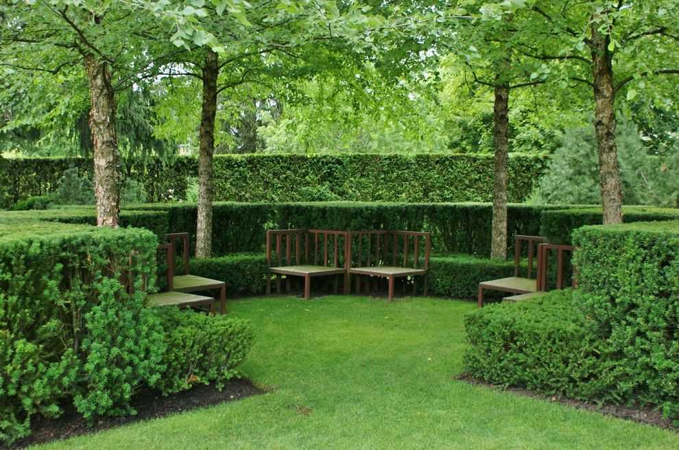 Potomac Garden Center for a Traditional Landscape with a Wood Bench and Formal Garden Design by www.KarlGercens.com