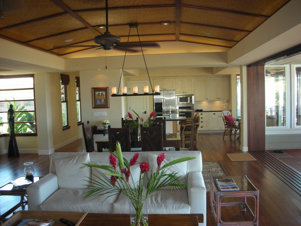 Pottery Barn Knock Off for a Tropical Dining Room with a Neutral Colors and Maui Tropical Kitchen by Tervola Designs