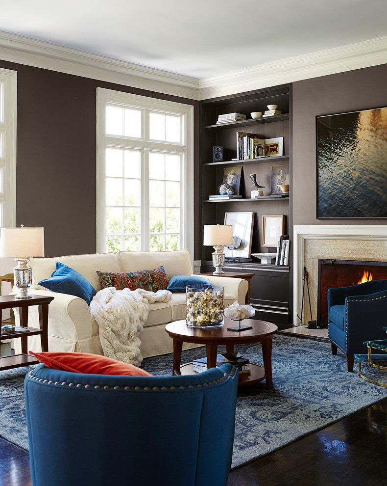 Pottery Barn Living Room for a Contemporary Living Room with a Blue Pillows and Pottery Barn by Pottery Barn