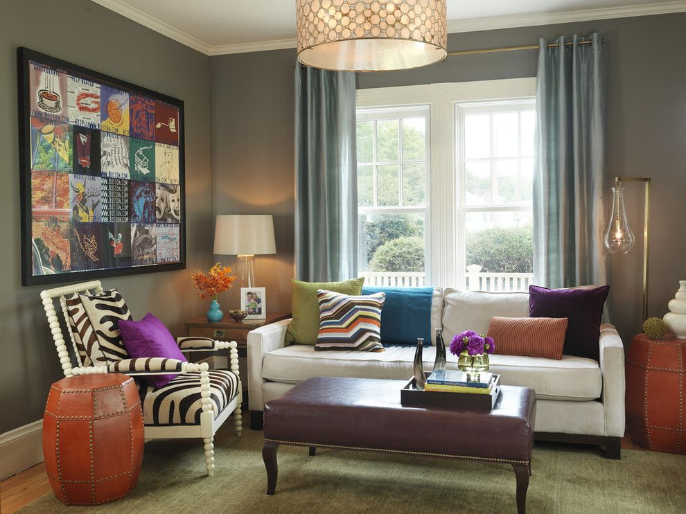 Pottery Barn Living Room for a Contemporary Living Room with a Throw Pillows and Living Room by Rachel Reider Interiors