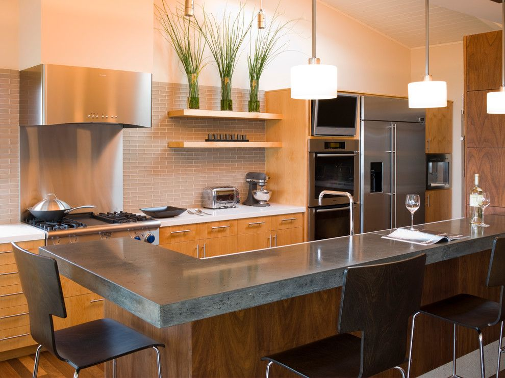 poured concrete countertops for a contemporary kitchen