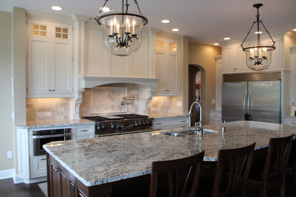 Pratt and Larson for a Traditional Kitchen with a Backsplash and Almond Beige Marble Collection by Best Tile
