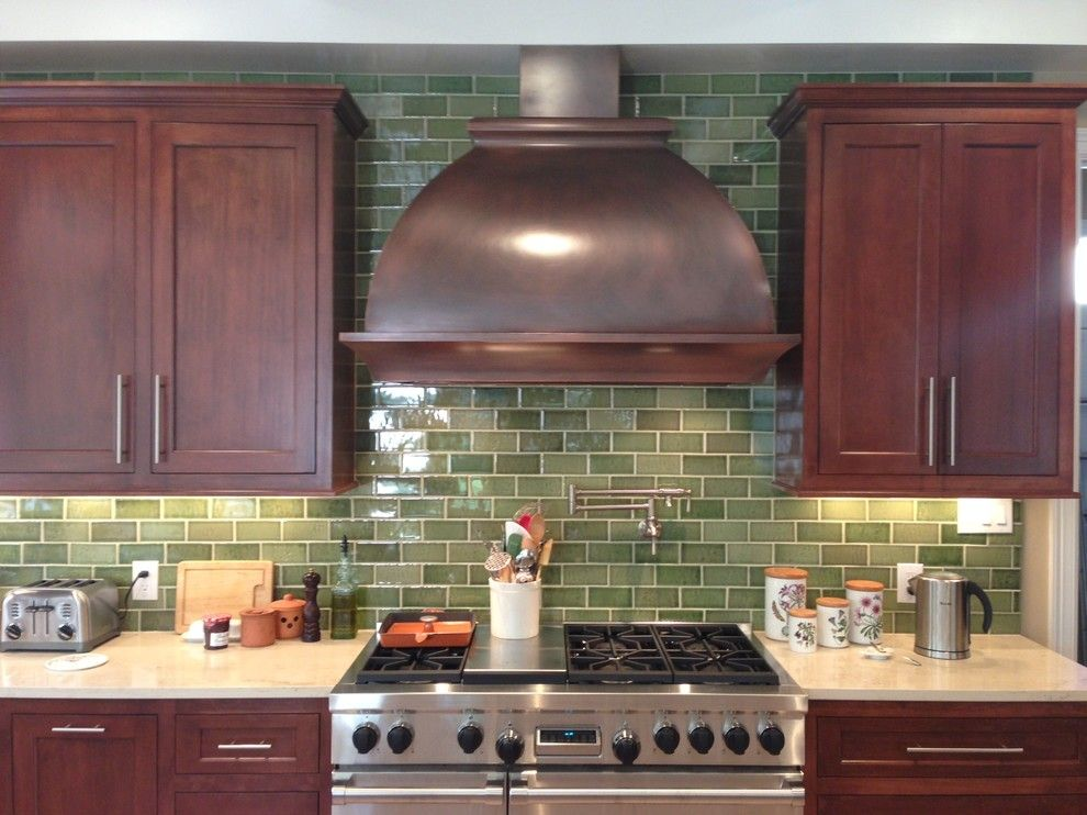 Pratt and Larson for a Traditional Kitchen with a Fireplace Tile and Spaces and Installations with Pratt & Larson by Pratt and Larson Ceramics