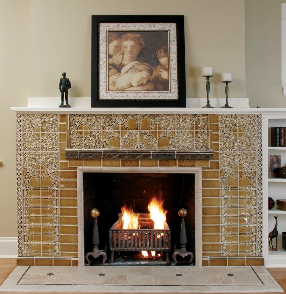 Pratt and Larson for a Traditional Spaces with a or and Fireplace Ideas by Pratt and Larson Ceramics