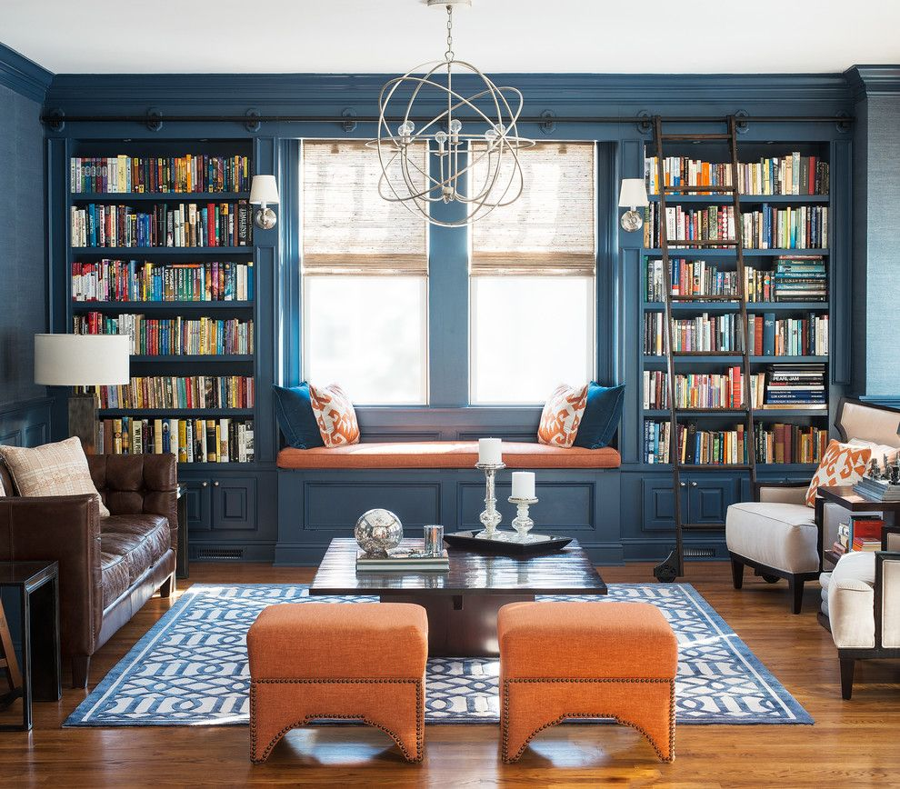 Precedent Furniture for a Transitional Living Room with a Wooden Library Ladder and Pine Library by Cory Connor Designs
