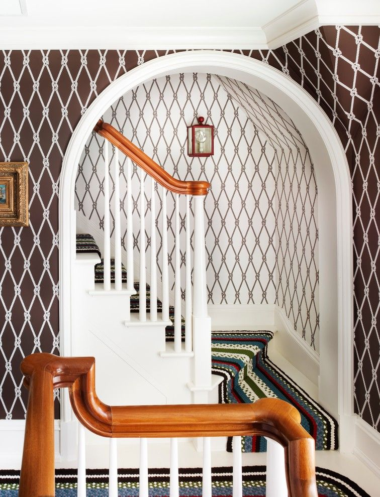 Preppy Wallpaper for a Beach Style Staircase with a Stair Runner and Westchester Waterfront by Anthony Baratta Llc