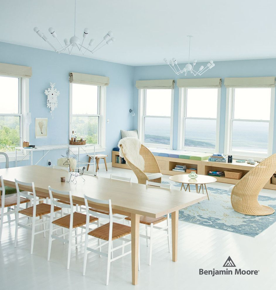 Preppy Wallpaper for a Contemporary Living Room with a Chandelier and Benjamin Moore by Benjamin Moore