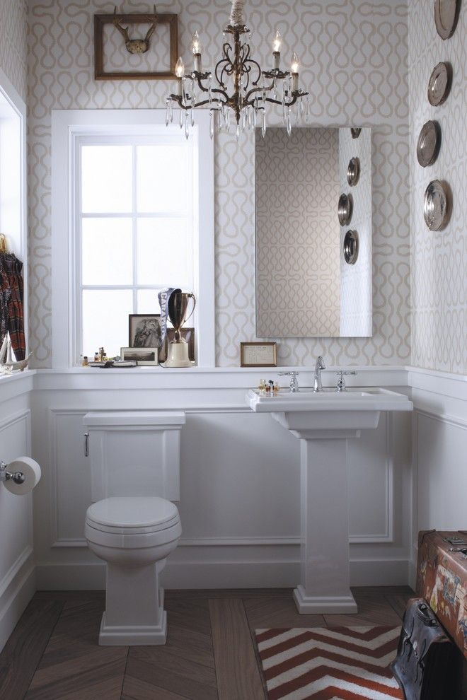 Preppy Wallpaper for a Eclectic Powder Room with a Matching Sink and Toilet and Eclectic Preppy Powder Room by Kohler