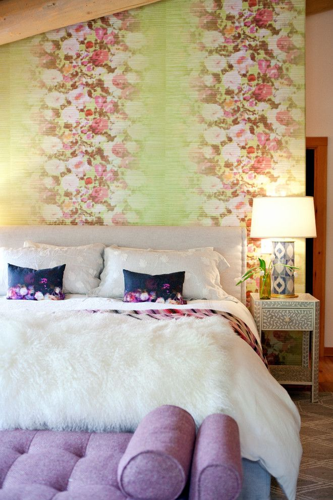Preppy Wallpaper for a Rustic Bedroom with a Fur Blanket and Motley Log by Grace Home Design, Inc.