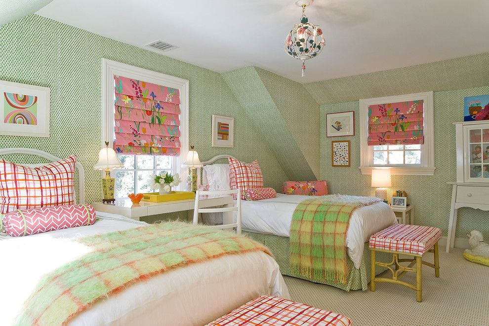 Preppy Wallpaper for a Traditional Kids with a Roman Shades and Katie Rosenfeld Interiors by Michael J. Lee Photography