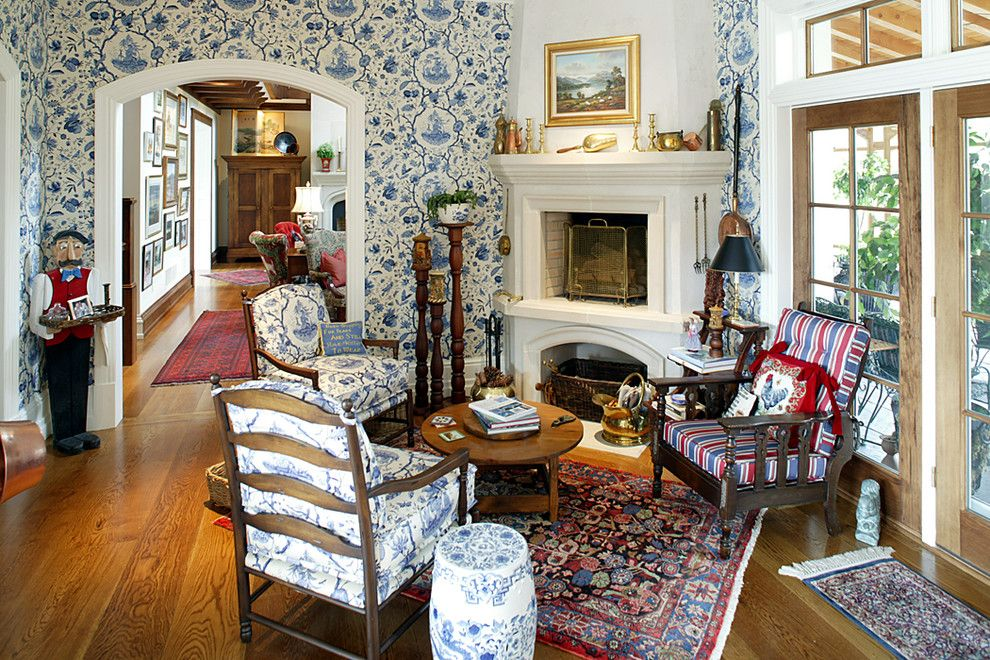 Preppy Wallpaper for a Traditional Living Room with a Wood Floor and English Country House by Dewson Construction Company