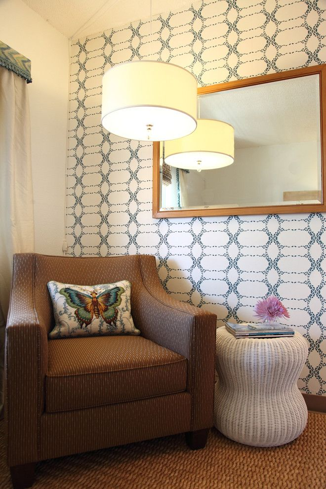 Preppy Wallpaper for a Transitional Family Room with a Eco Friendly and Family Shelter Adopted Room by Rachel Winokur Interiors