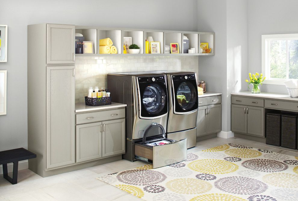 Pro Source Flooring for a Contemporary Laundry Room with a White Backsplash and Lg Electronics by Lg Electronics