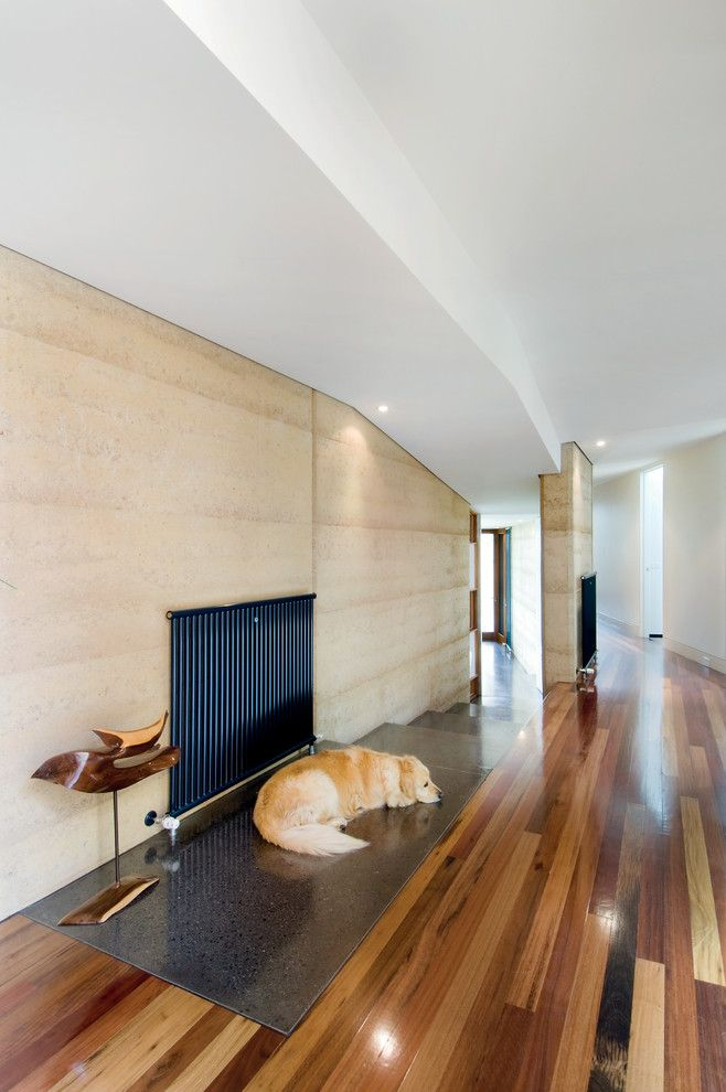 Pro Source Flooring for a Modern Entry with a Hearth and Hill House by Mihaly Slocombe
