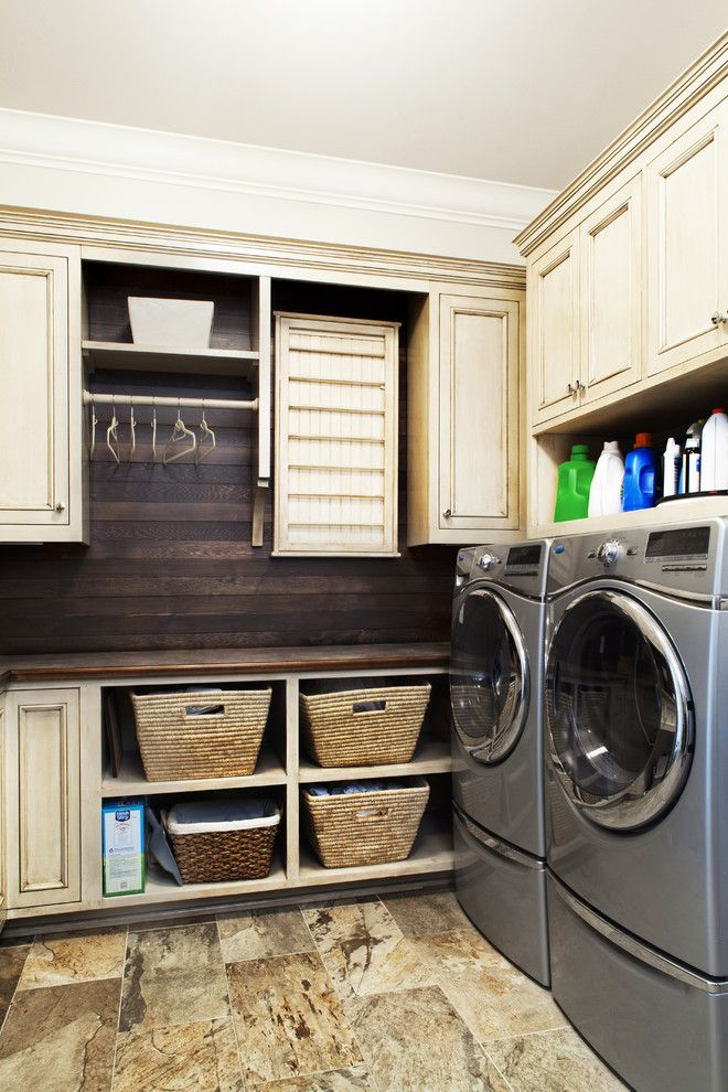 Prosource Flooring for a Traditional Laundry Room with a Open Baskets and Coastal Eclectic by Amanda Webster Design