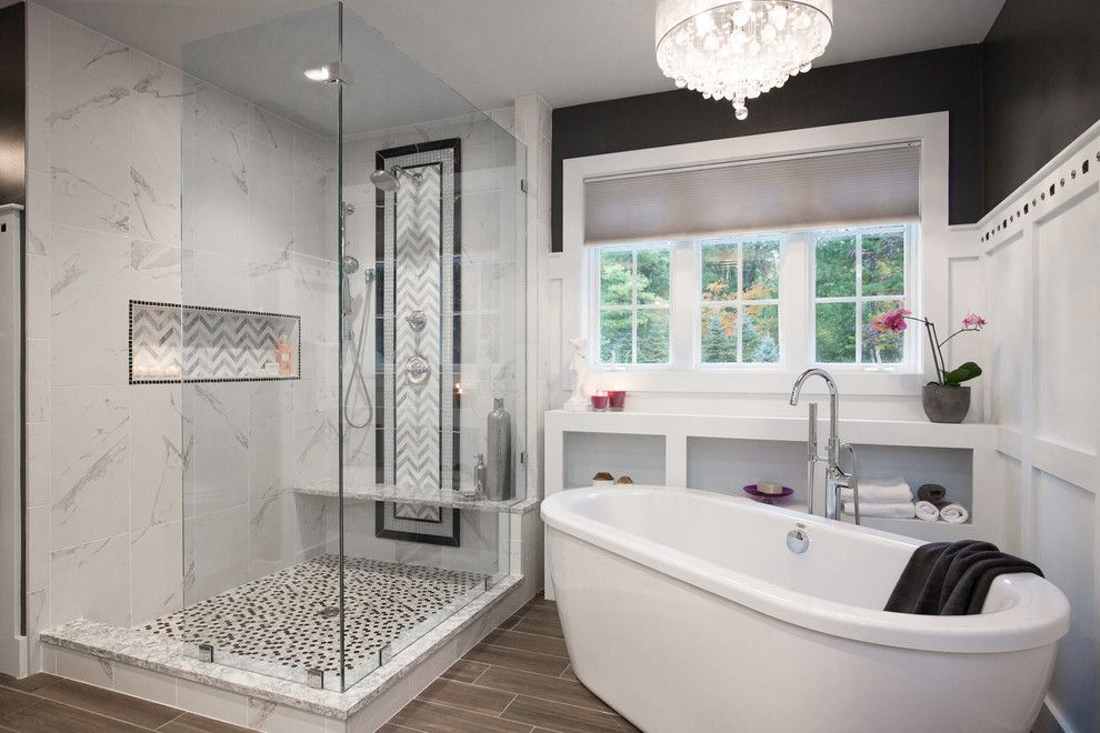 Prosource Flooring for a Transitional Bathroom with a Wall Paneling and Woodbine Rd  Master Bath by New England Design Elements