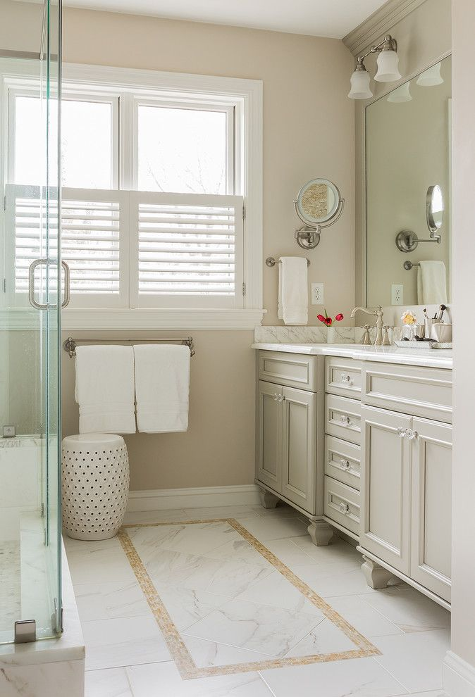 Prosource Flooring for a Victorian Bathroom with a Hardwired Makeup Mirror and Victorian Restoration by David Sharff Architect, P.C.