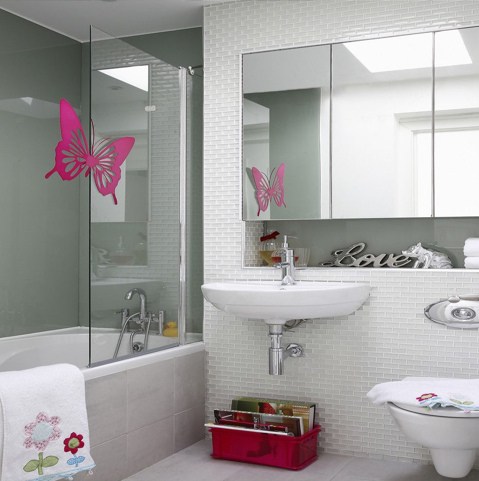 Pullman Building Supply for a Contemporary Bathroom with a Pink Butterfly and Family Bathroom by Optimise Design