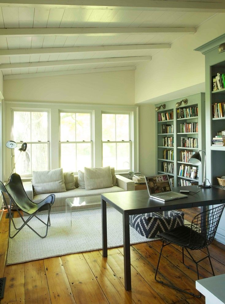 Puritan Furniture for a Farmhouse Home Office with a Black Metal Chair and 19th Century Farmhouse Renovation; Updated Photos by Mick Hales by Kate Johns Aia