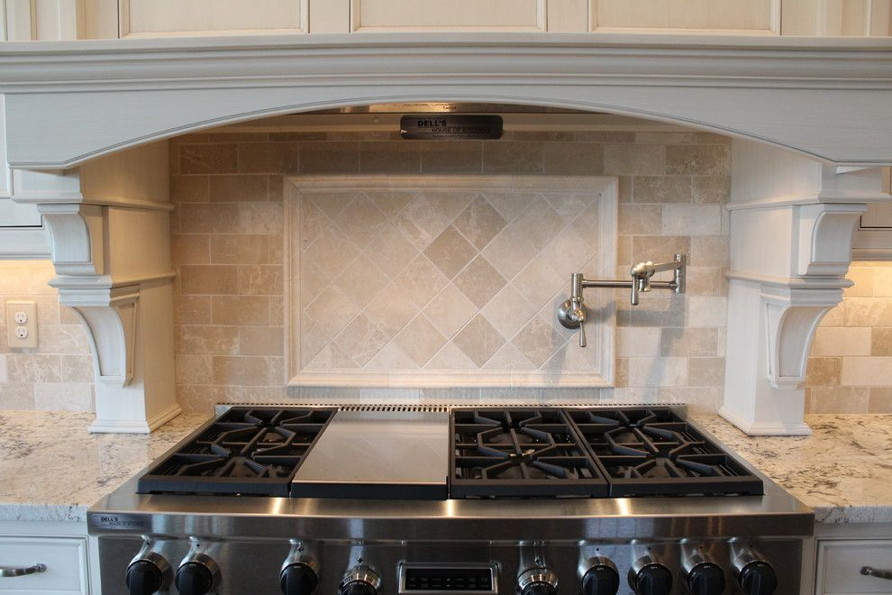 Pyramid Builders for a Traditional Kitchen with a Tile Border and Almond Beige Marble Collection by Best Tile