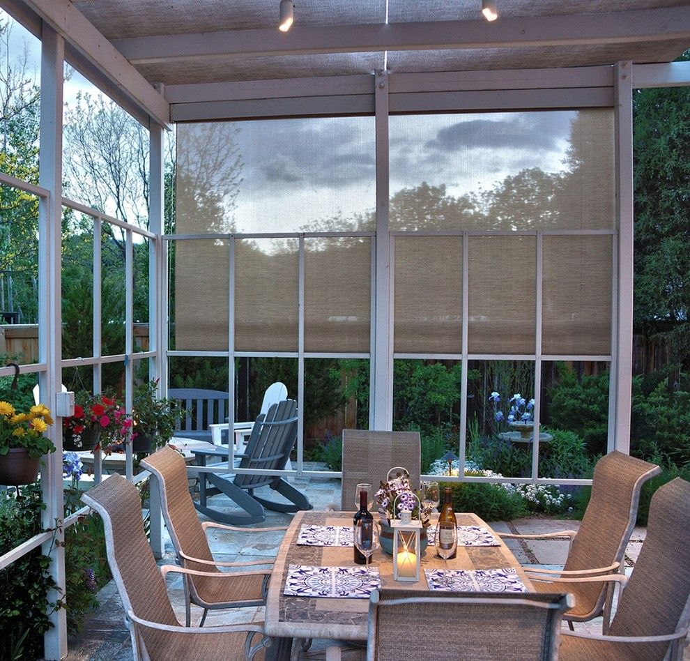 Qmotion for a Modern Patio with a Green Hills and Open Patio Shades by Lightstyle Solutions