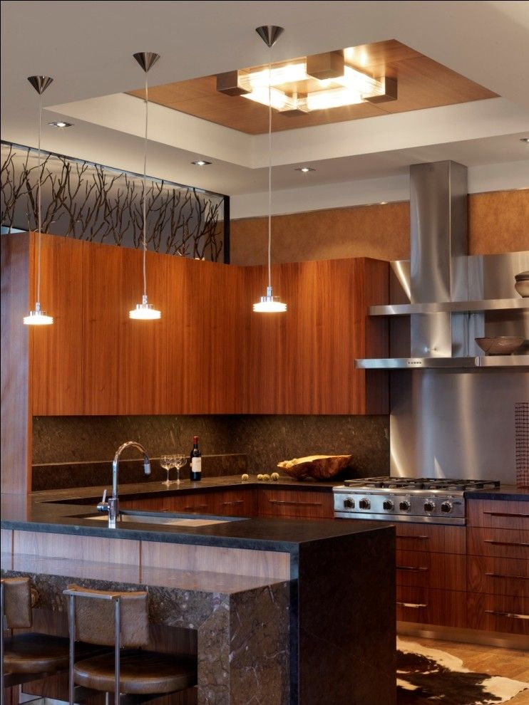 Quaker Windows for a Contemporary Kitchen with a Recessed Lighting and Quaker Bluff Residence by Birdseye Design