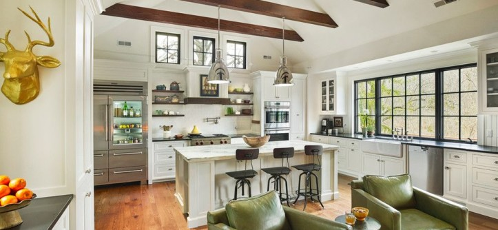 Quaker Windows for a Farmhouse Kitchen with a Fire Feature and Sycamore Farms by Sullivan Building & Design Group