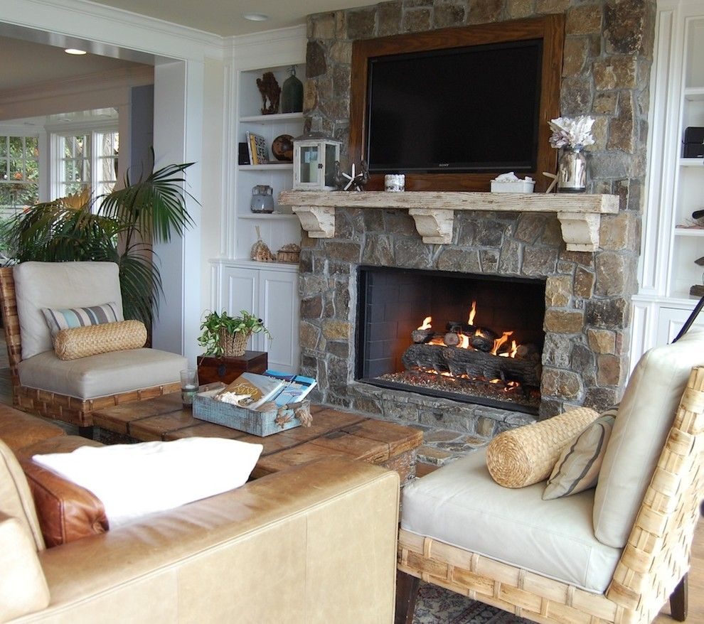Quality Stone Veneer for a Beach Style Living Room with a Stone Fireplaces and My Houzz: Cape Cod Style in California by Dana Nichols