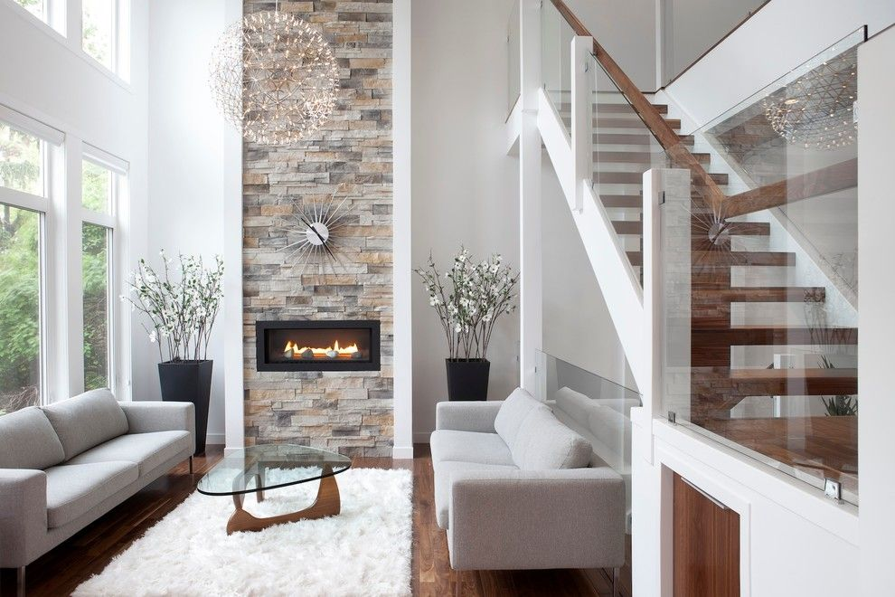 Quality Stone Veneer for a Contemporary Living Room with a Modern and Rectangle by Rectangle Design Inc