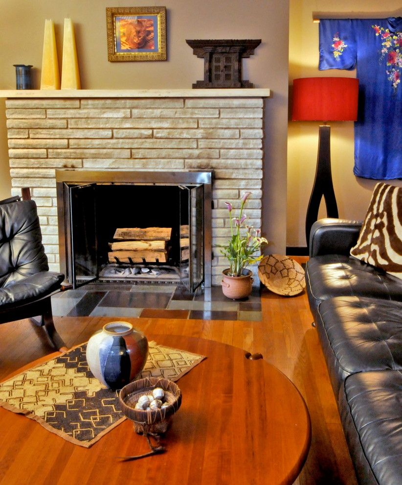 Quality Stone Veneer for a Modern Living Room with a Mid Century and Chatham Living Room by Bespoke Decor