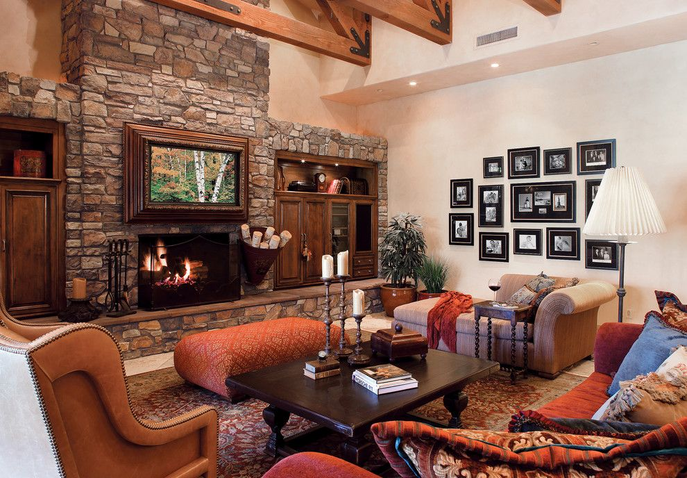 Quality Stone Veneer for a Traditional Living Room with a Electric ...