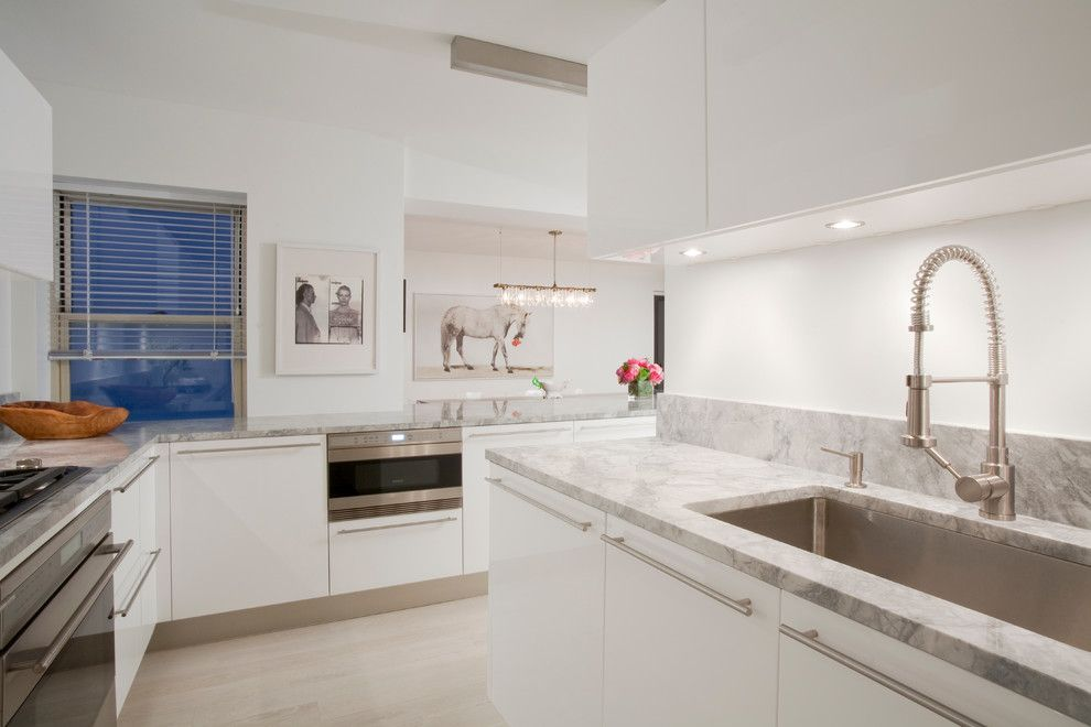 Quartz vs Granite Countertops for a Scandinavian Kitchen with a Porcelanosa White Kitchen Cabinets and 57th Street Residence by Glickman Schlesinger Architects
