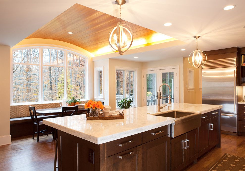 Quartzite vs Granite for a Transitional Kitchen with a Recessed Lighting and Potomac Iii by Aidan Design