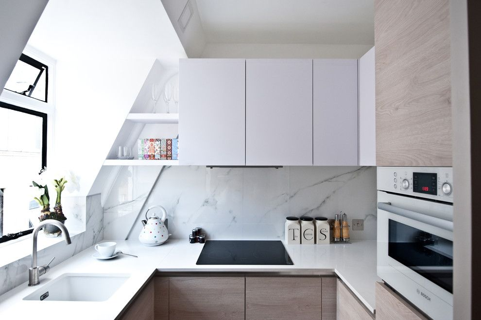 Queen City Appliance for a Contemporary Kitchen with a White Kitchen and City Studio Apartment by Black and Milk Residential