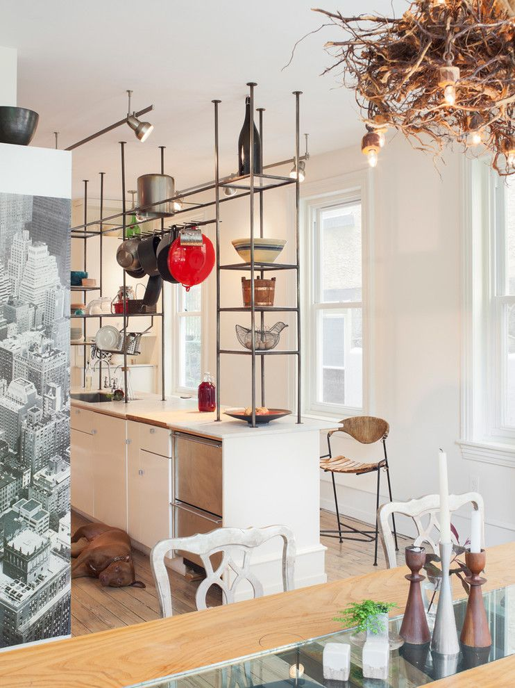 Queen City Appliance for a Eclectic Kitchen with a Chandelier Nest and Indian Queen Lane, Philadelphia by Ennis Nehez