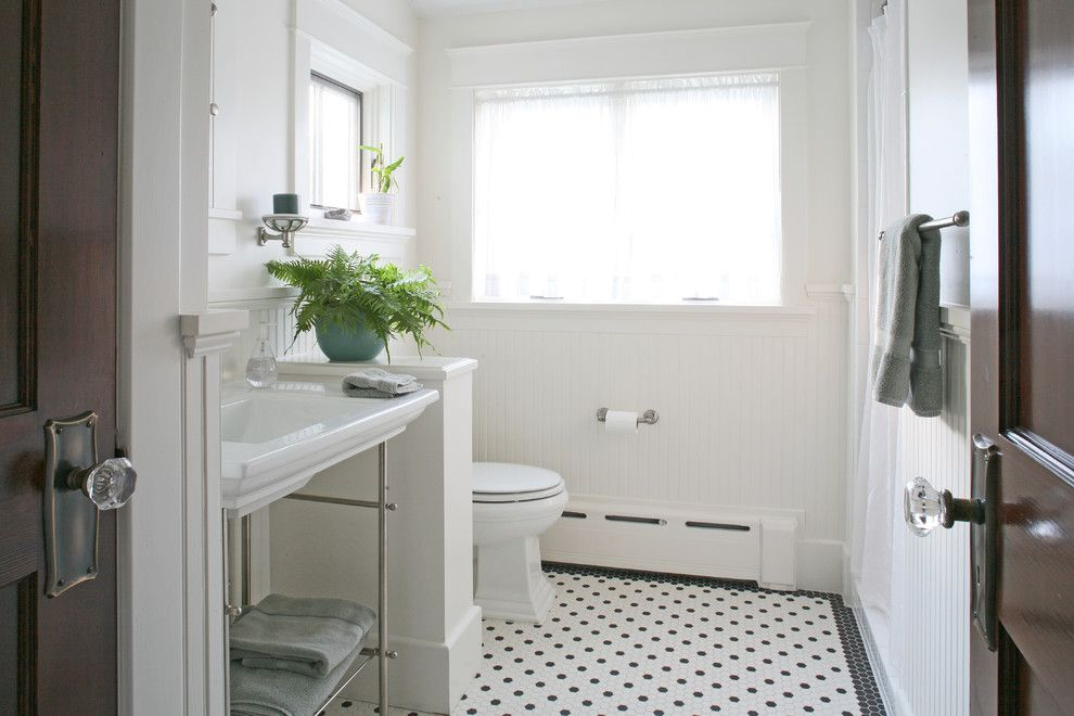 Radiant Plumbing for a Craftsman Bathroom with a 1930 and a House in a Garden by Brennan + Company Architects
