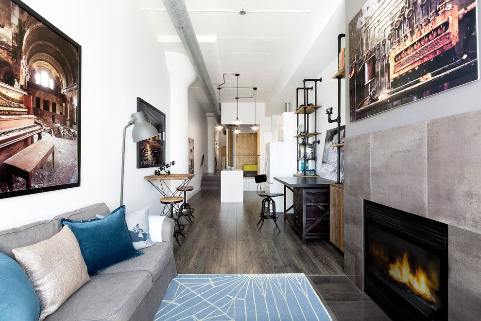 Radiant Plumbing for a Industrial Living Room with a Long Room and Photo Loft by Rad Design Inc