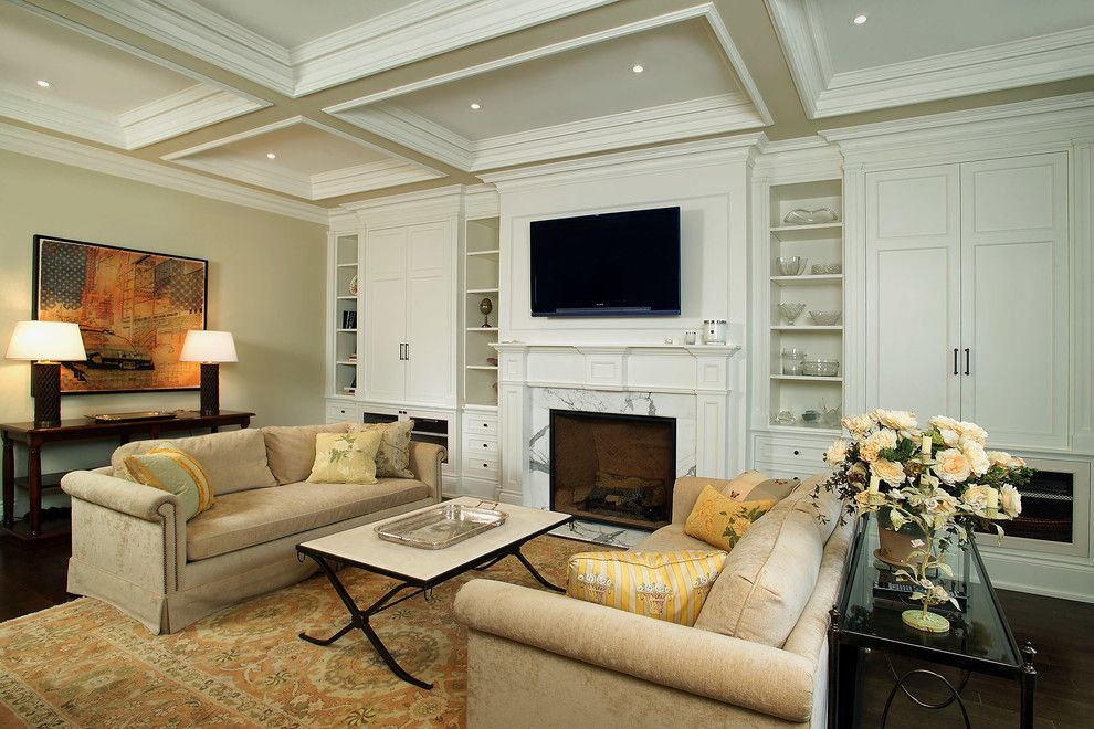 Rapport Furniture for a Traditional Living Room with a Open Shelves and Fireplaces by Arnal Photography