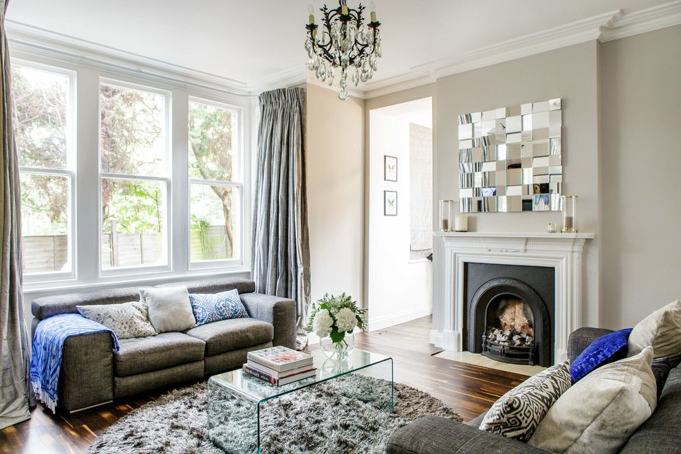 Rapport Furniture for a Victorian Living Room with a Grey Wallpaper and Highgate Flat by Honey Bee Interiors