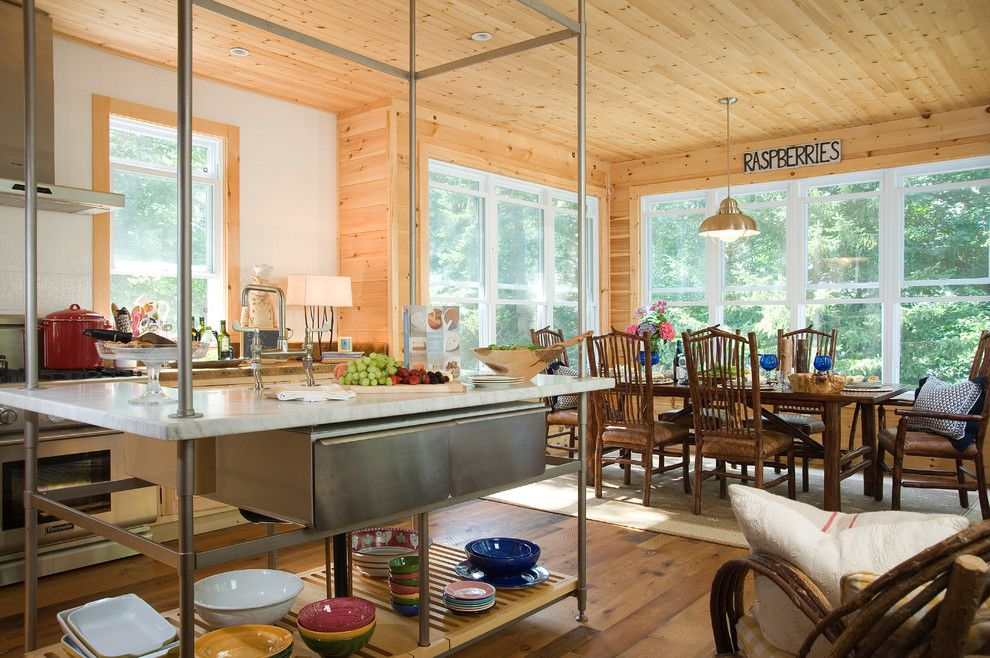 Raylee Homes for a Rustic Kitchen with a Wood Ceiling and Wood, Naturally by Wood, Naturally