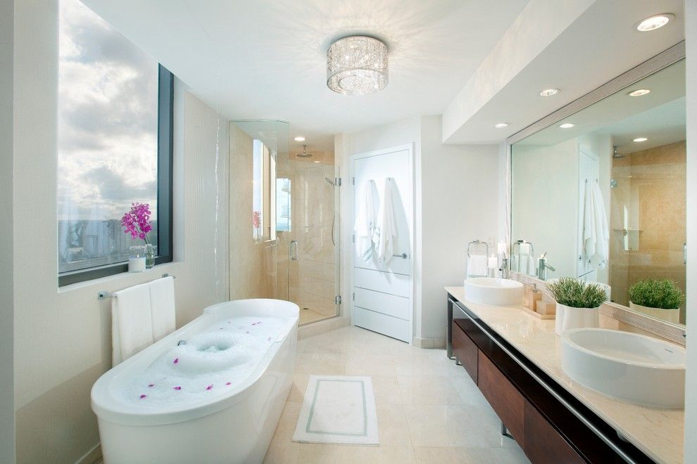 Recessed Lighting Layout for a Contemporary Bathroom with a Ceiling Light and Dkor Interiors   Interior Designers Miami   Modern   Sophisticated Getaway by Dkor Interiors Inc.  Interior Designers Miami, Fl