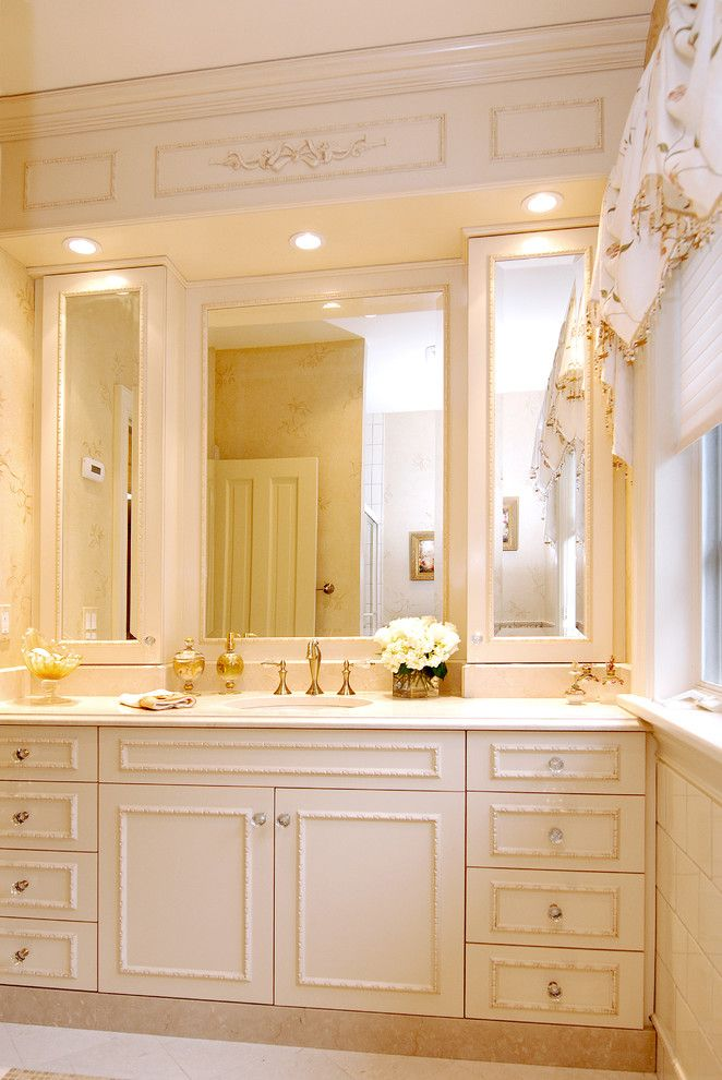Recessed Lighting Layout for a Traditional Bathroom with a Floral Arrangement and Bathroom   Traditional by Ami Designs