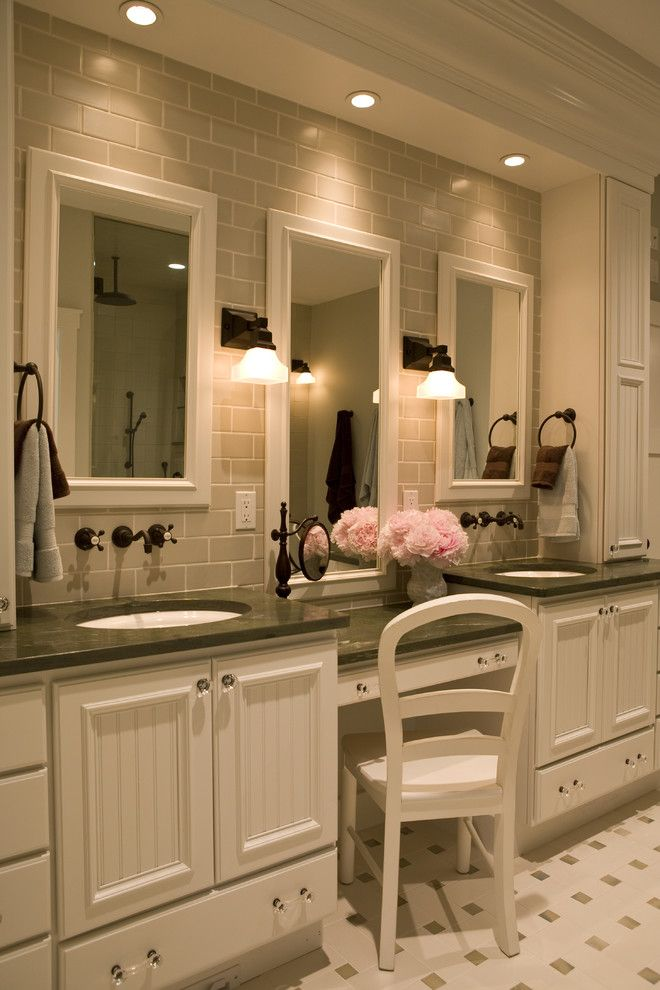 Recessed Lighting Layout for a Traditional Bathroom with a Sconce and 21st Century Bungalow by Shane D. Inman