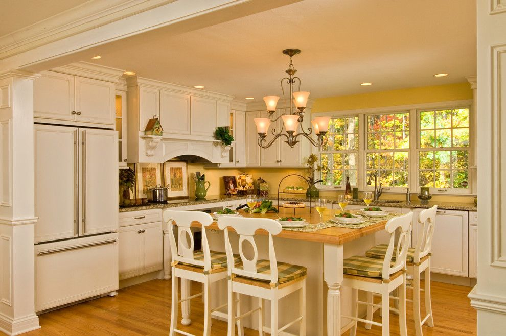 Recessed Lighting Layout for a Transitional Kitchen with a Bright Kitchen Decora Cabinetry Large Island and Bright and Airy Kitchen by Kitchen and Bath World, Inc