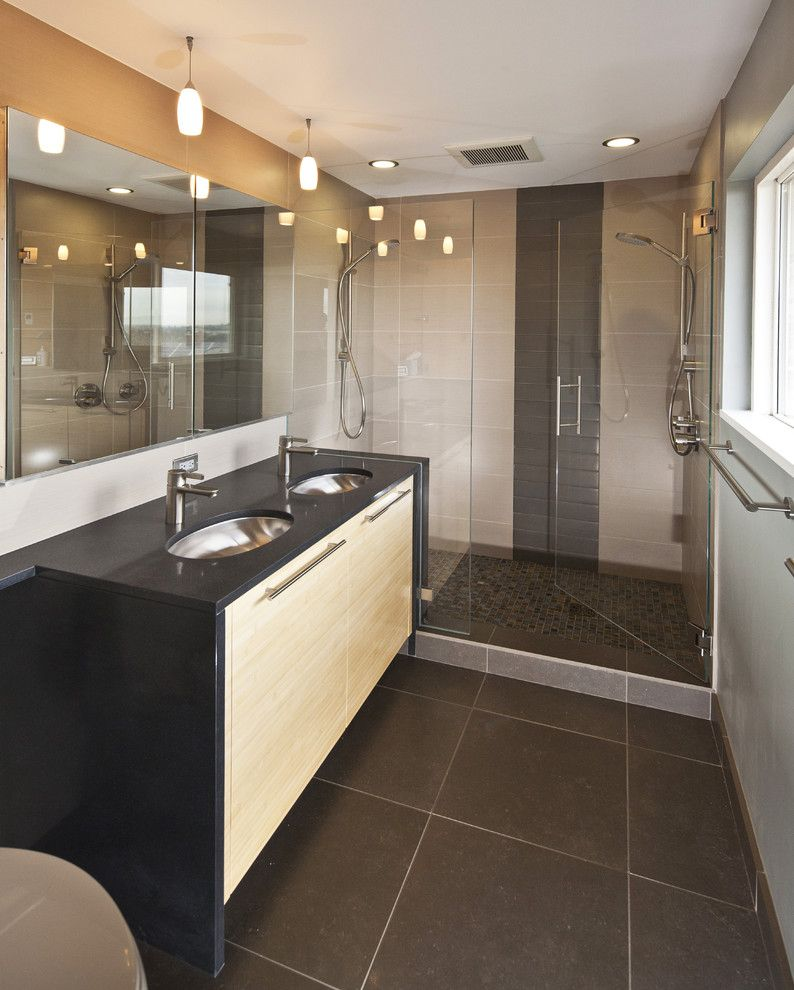 Rectified Tile for a Contemporary Bathroom with a Tile Walls and Eastside Update by Beley Design, Pllc