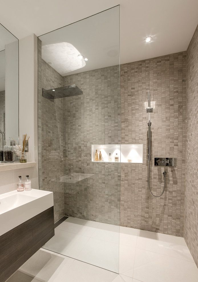 Rectified Tile for a Contemporary Bathroom with a Wet Rooms and a Beautiful Basement Shower Room by London Basement