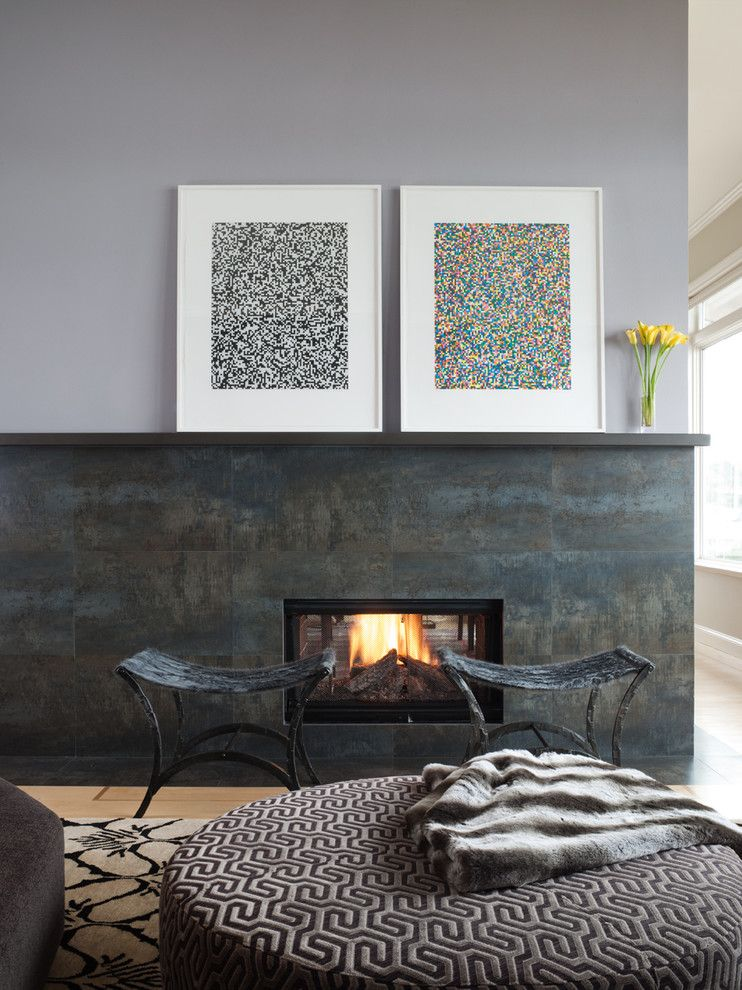 Rectified Tile for a Contemporary Living Room with a Small Fireplace and Tiburon by Gloria Marth Design