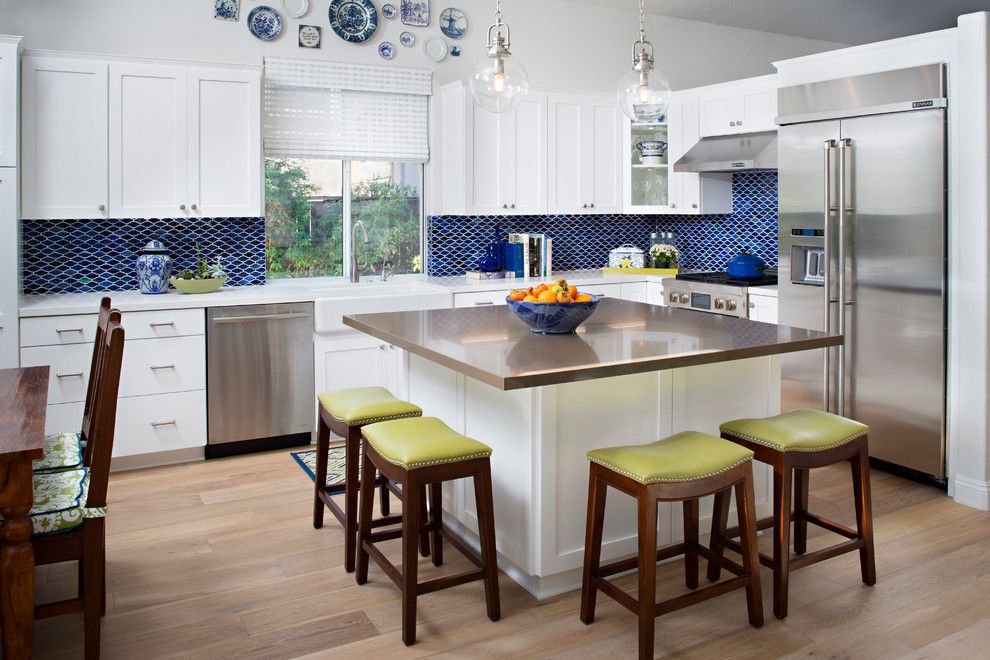 Rectified Tile for a Transitional Kitchen with a Glass Pendant Light and Turnberry Drive by Tracy Lynn Studio