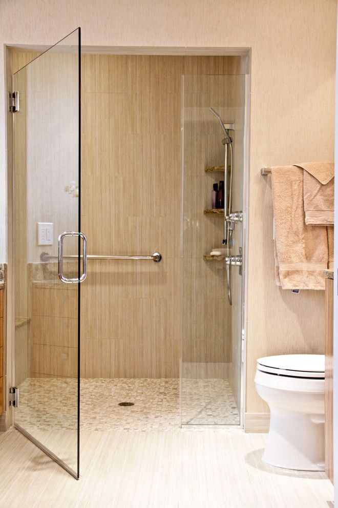 Redi Floors for a Contemporary Bathroom with a Curbless Shower and Neutral Tone Bathroom by Robert Legere Design