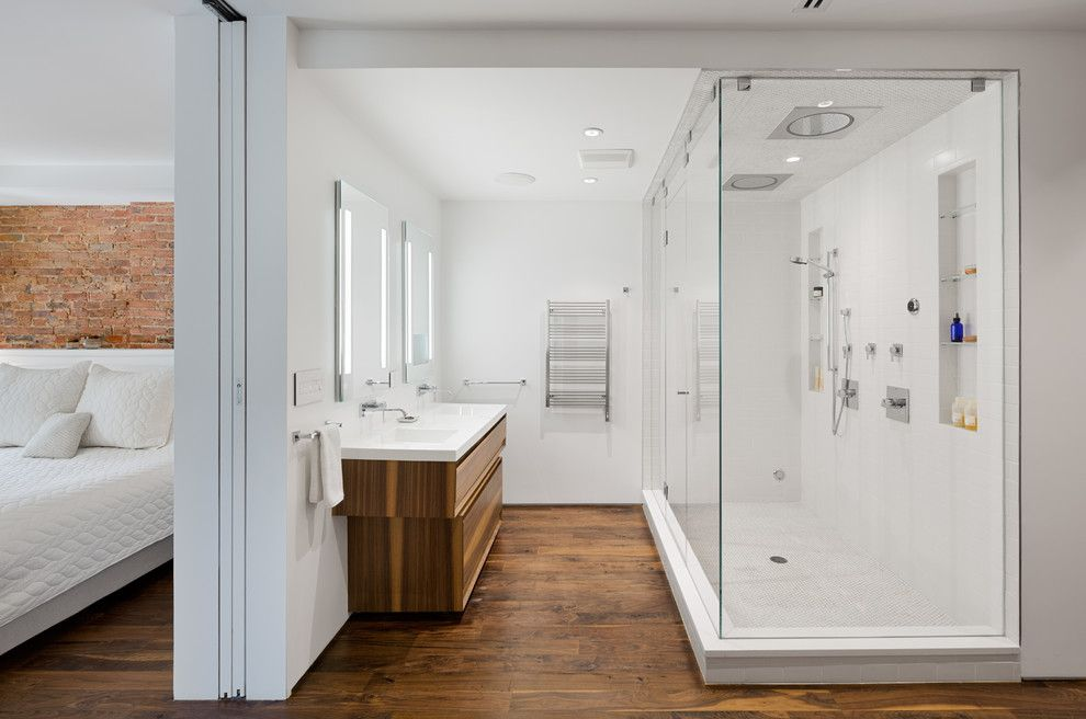 Redi Floors for a Contemporary Bathroom with a Two Sinks and Prospect Heights Townhouse by Builtin Studio